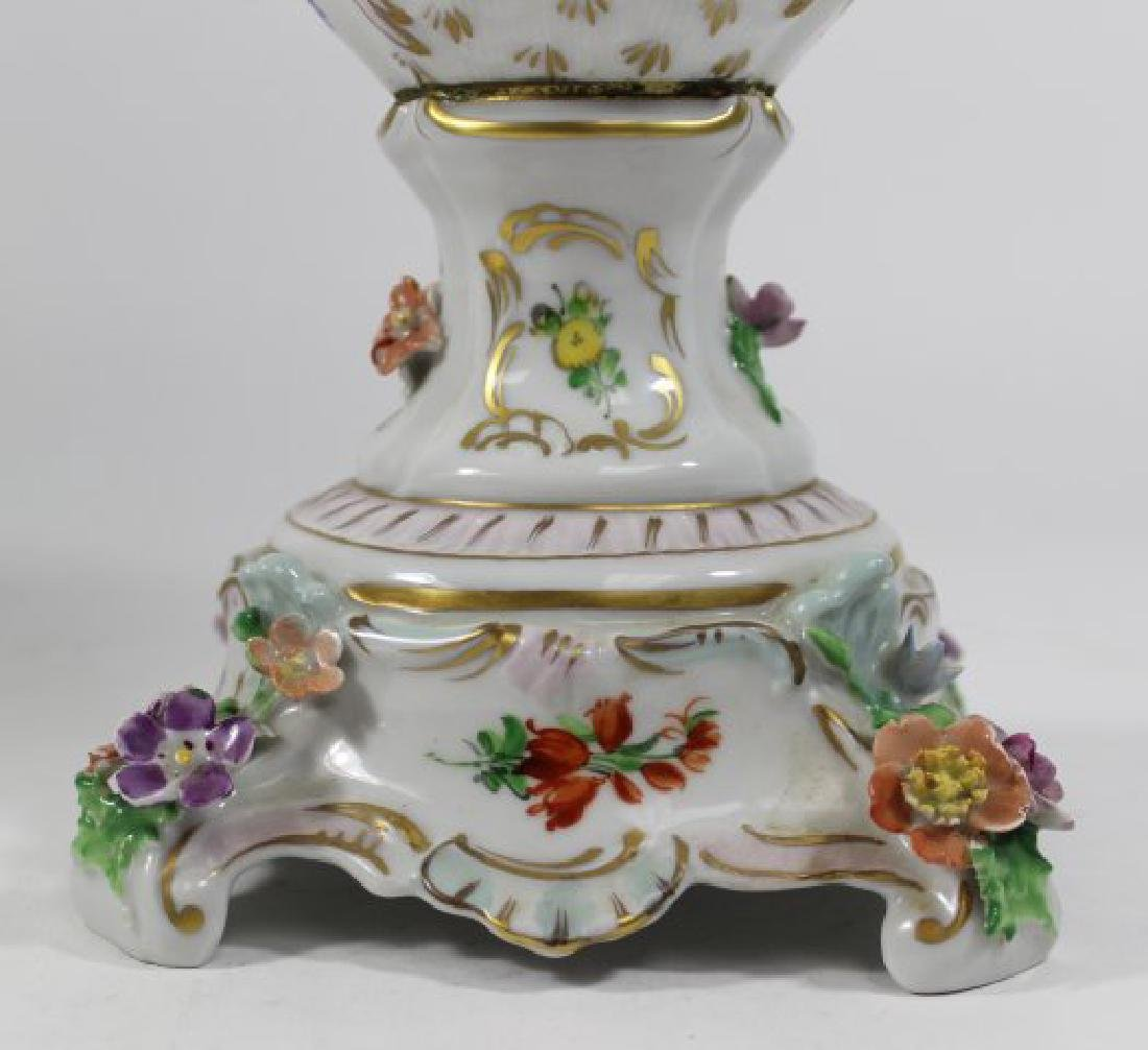 Pair Dresden Floral Covered Urns - 4