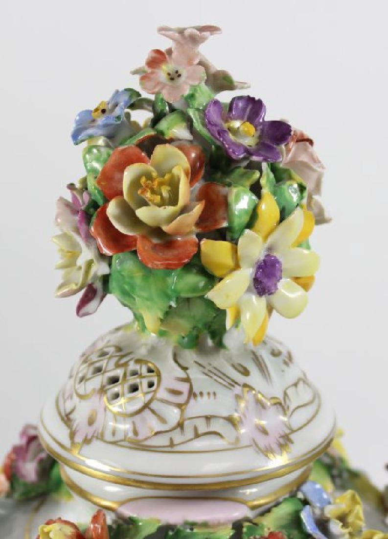 Pair Dresden Floral Covered Urns - 5