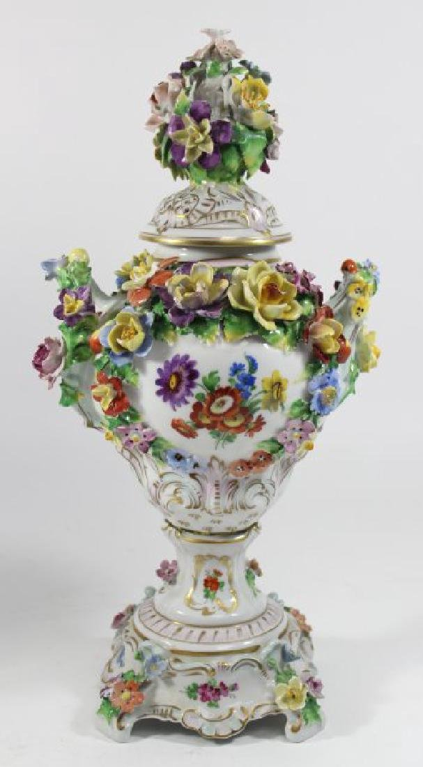 Pair Dresden Floral Covered Urns - 6