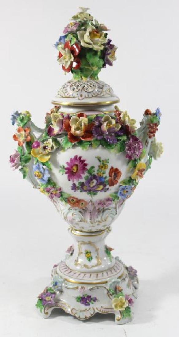 Pair Dresden Floral Covered Urns - 7