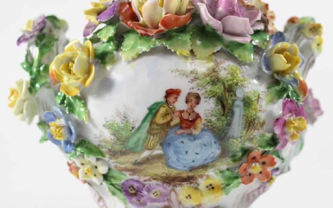 Pair Dresden Floral Covered Urns - 8
