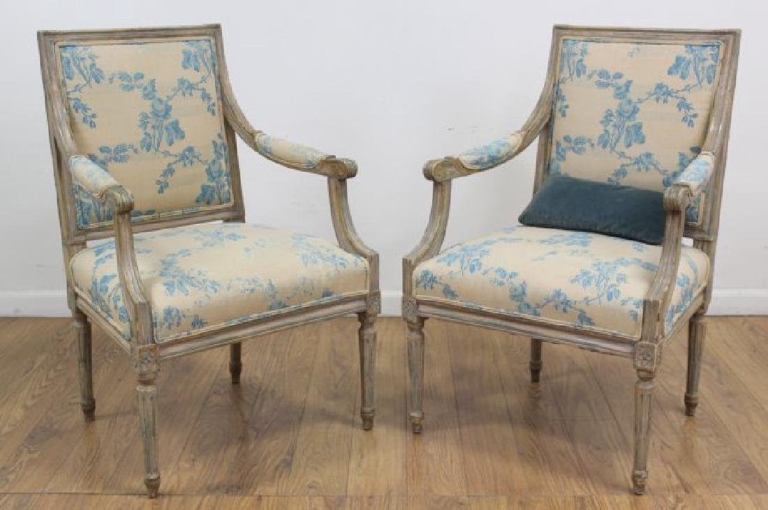 Pair French Style Paint Decorated Open Armchairs