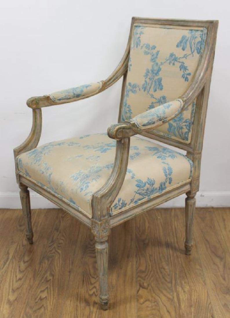 Pair French Style Paint Decorated Open Armchairs - 2