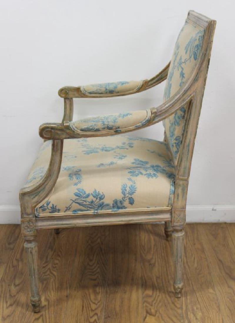 Pair French Style Paint Decorated Open Armchairs - 3
