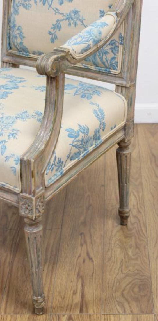 Pair French Style Paint Decorated Open Armchairs - 4