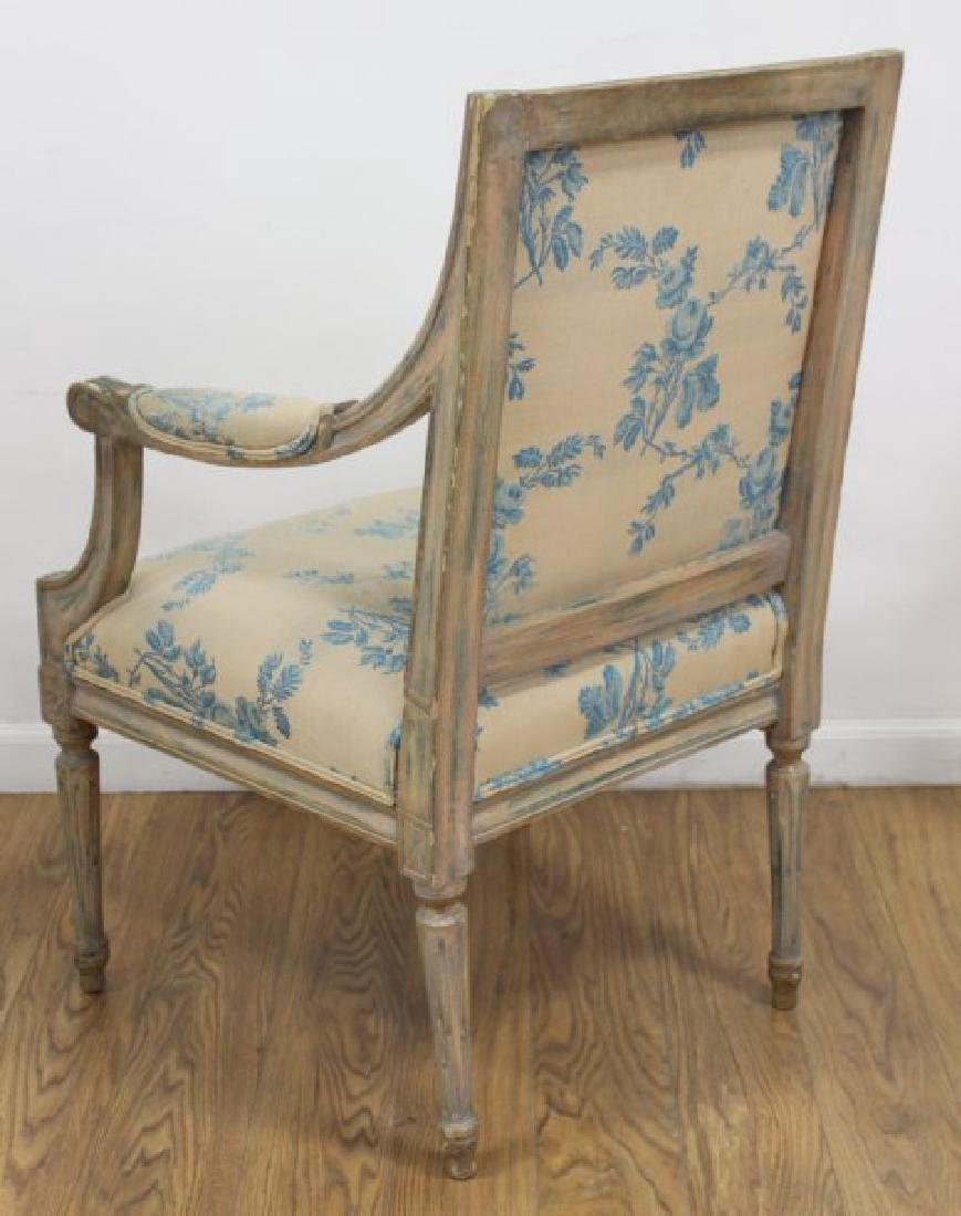 Pair French Style Paint Decorated Open Armchairs - 5