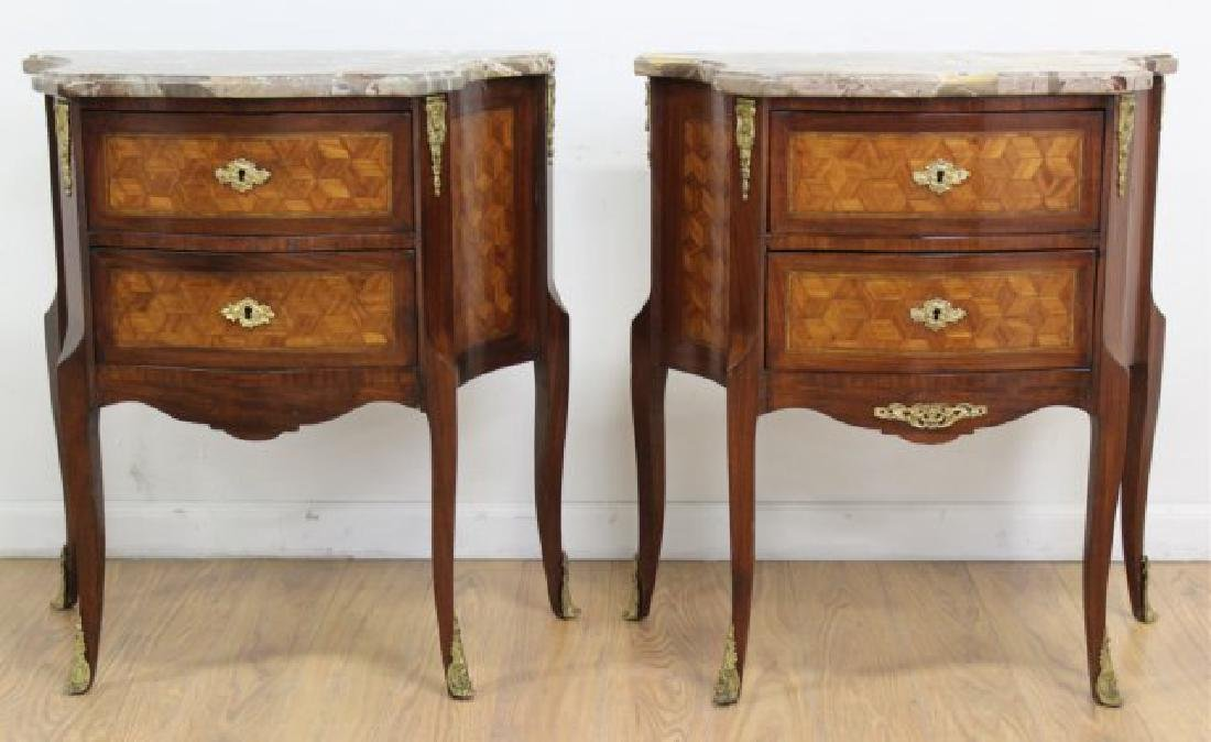 Pair French Inlaid Marble Top 2-Drawer