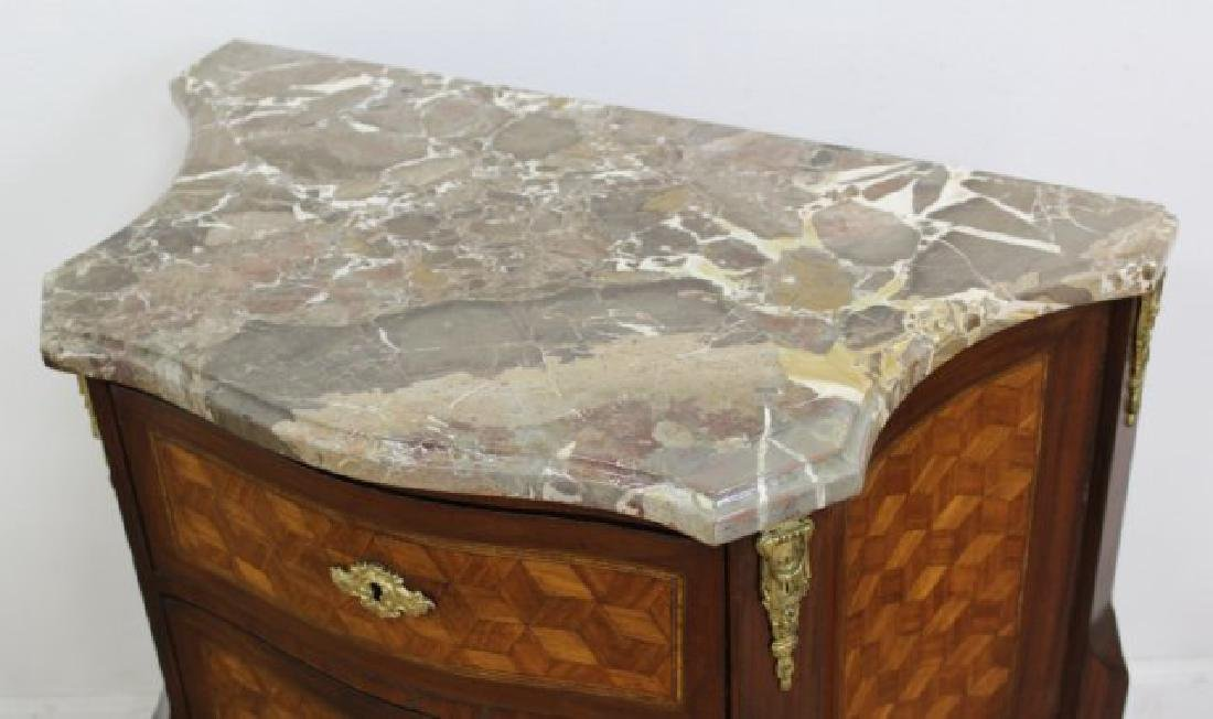Pair French Inlaid Marble Top 2-Drawer - 3