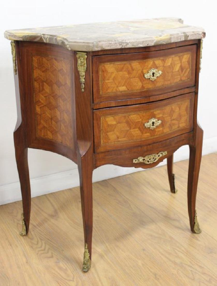 Pair French Inlaid Marble Top 2-Drawer - 4