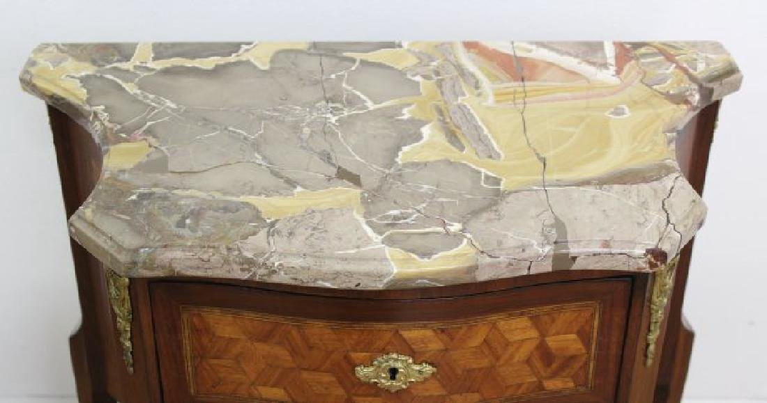 Pair French Inlaid Marble Top 2-Drawer - 5