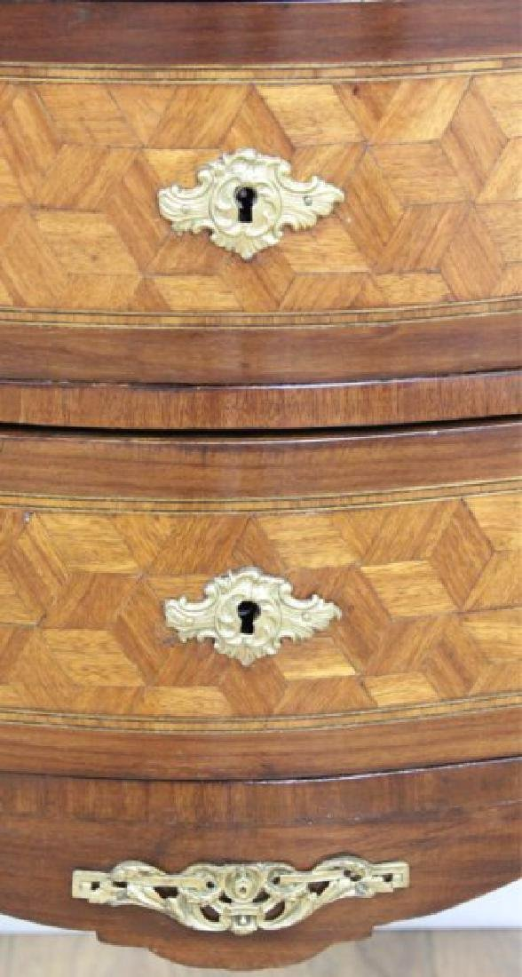 Pair French Inlaid Marble Top 2-Drawer - 6