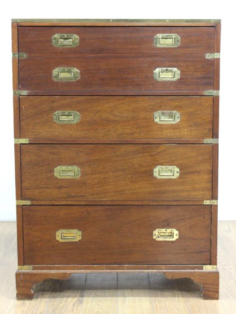 English Campaign Chest with Brown Leather Top