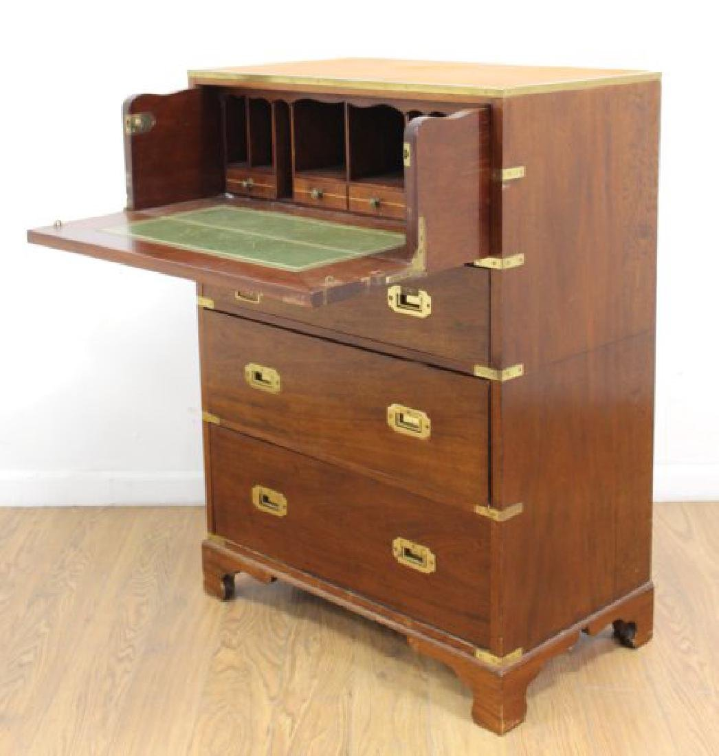 English Campaign Chest with Brown Leather Top - 3