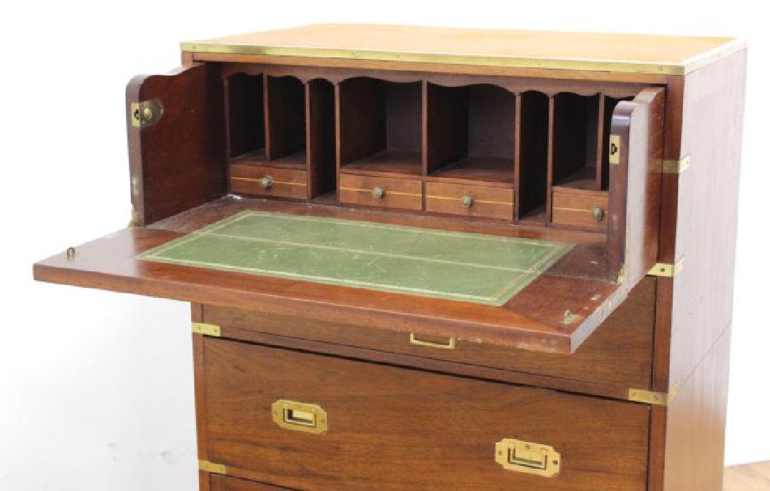 English Campaign Chest with Brown Leather Top - 4
