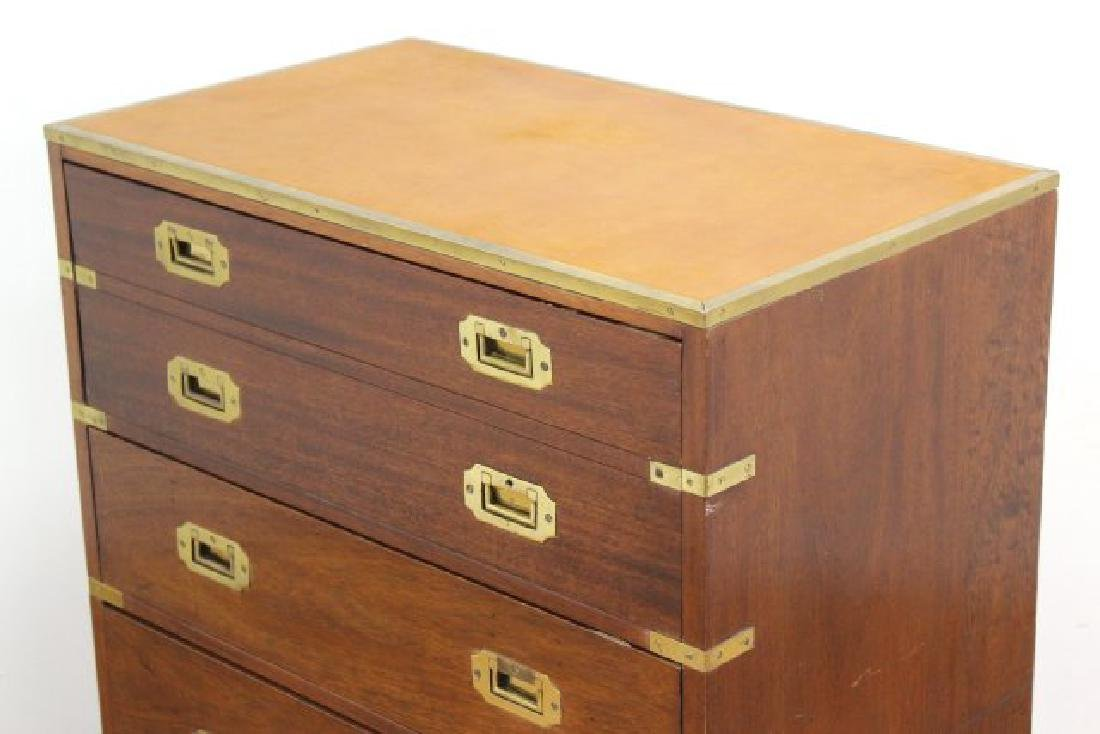 English Campaign Chest with Brown Leather Top - 5