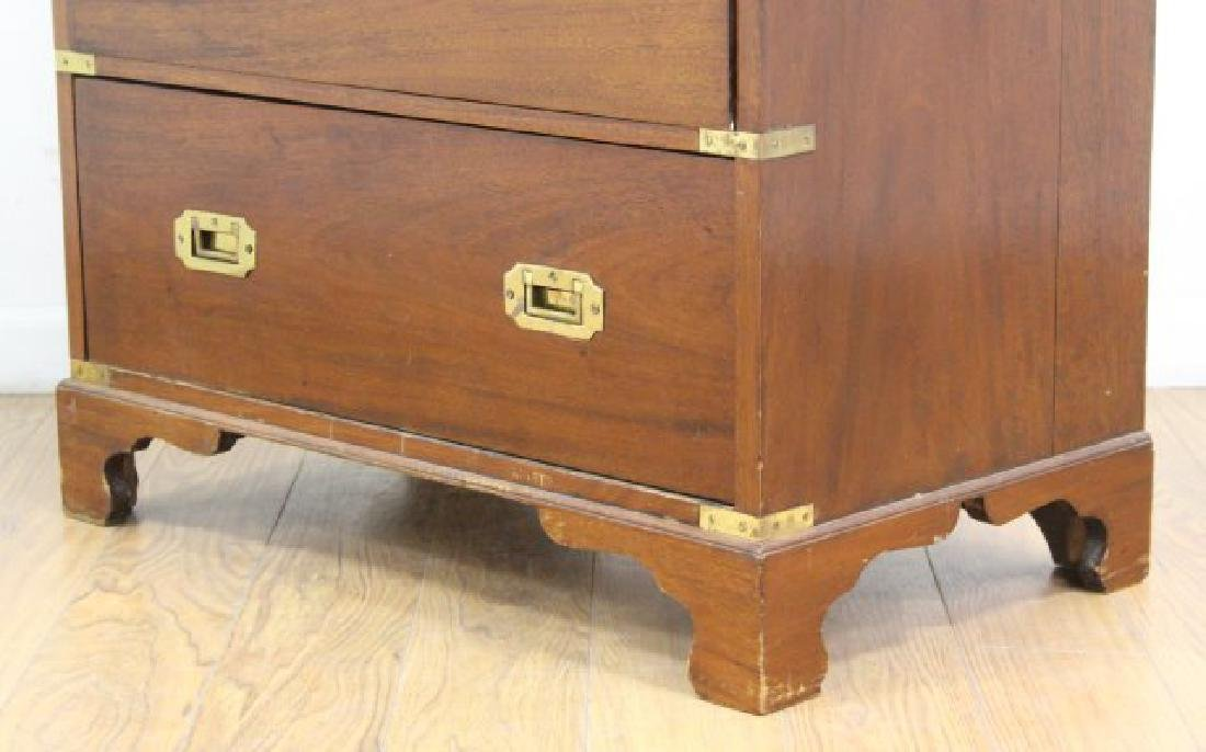 English Campaign Chest with Brown Leather Top - 6