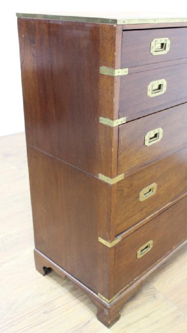English Campaign Chest with Brown Leather Top - 7