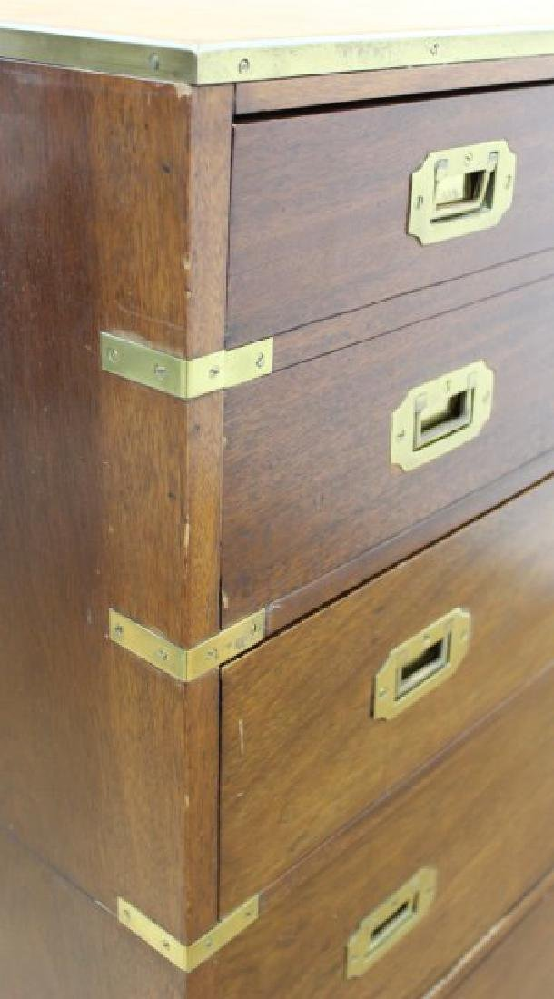 English Campaign Chest with Brown Leather Top - 8