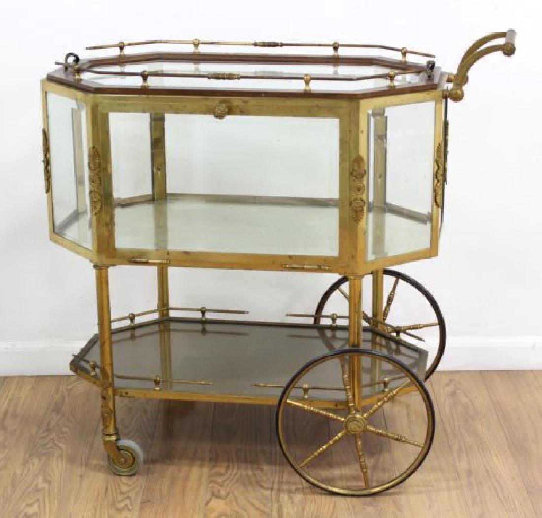:Brass & Glass Drop-Side Teacart