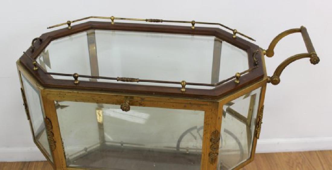 :Brass & Glass Drop-Side Teacart - 2
