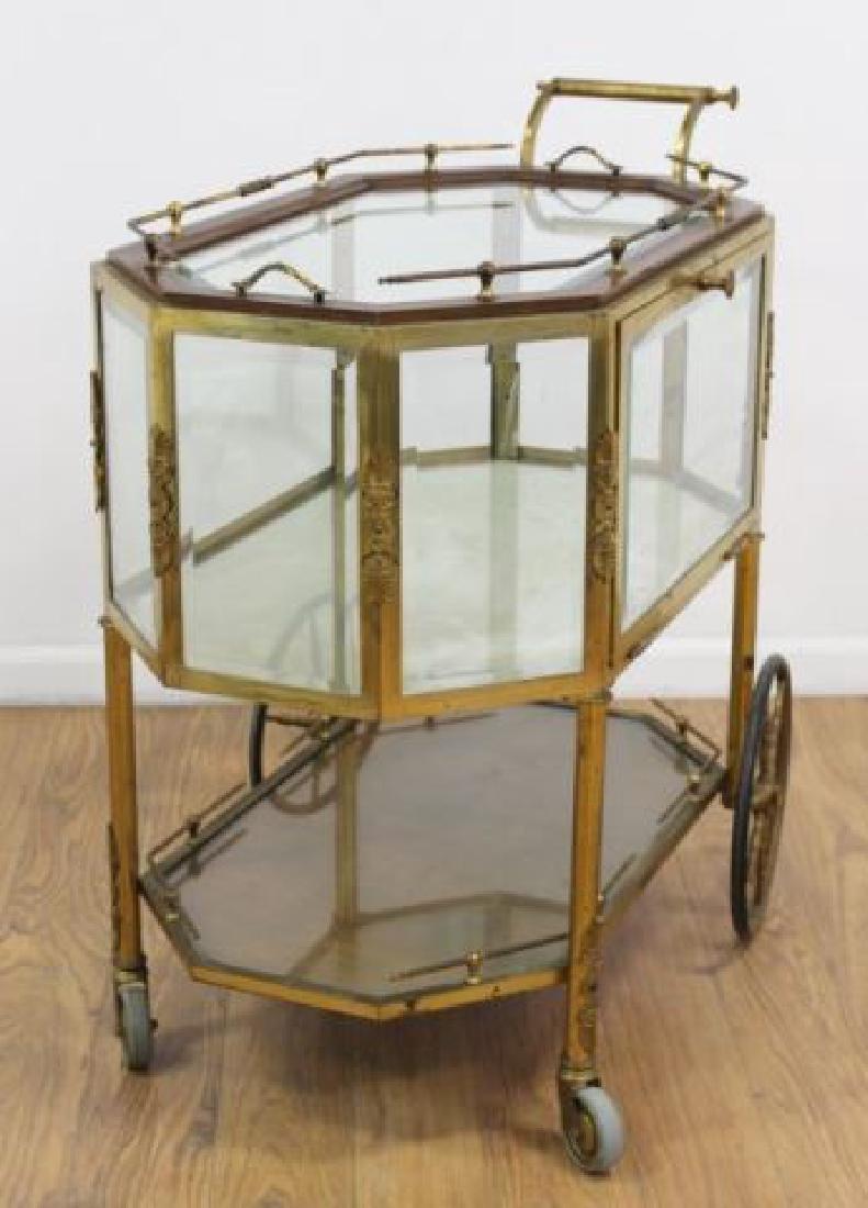 :Brass & Glass Drop-Side Teacart - 3