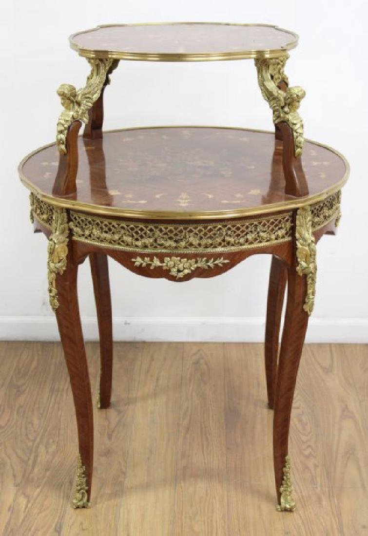 2-Tier Inlaid Louis XV Style Serving Table