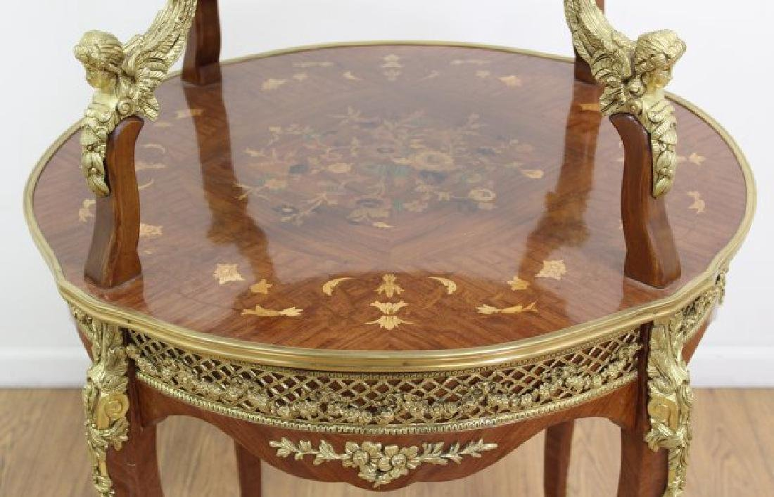 2-Tier Inlaid Louis XV Style Serving Table - 2