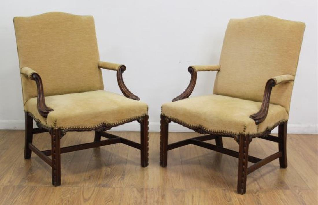 Pair George III Style Mahogany Library Armchairs