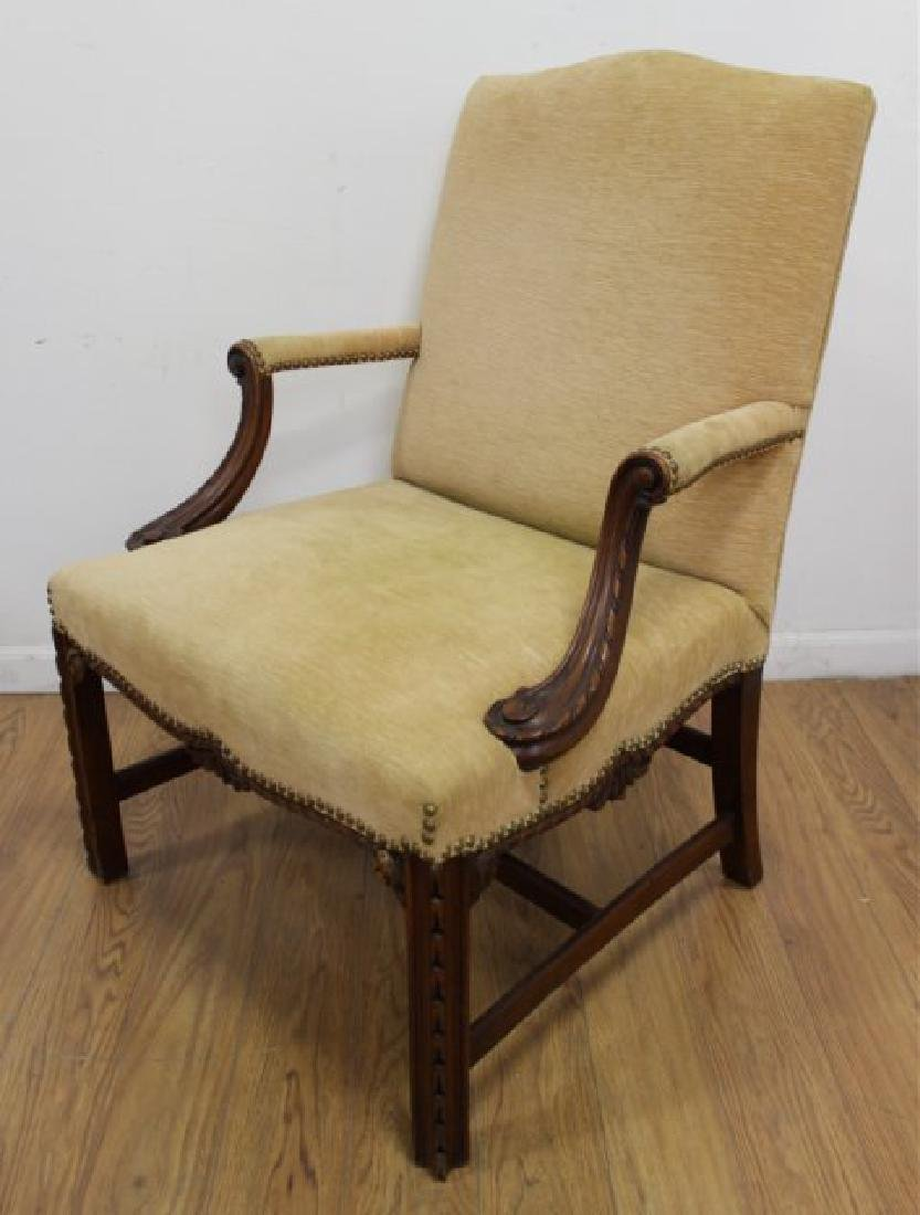 Pair George III Style Mahogany Library Armchairs - 2