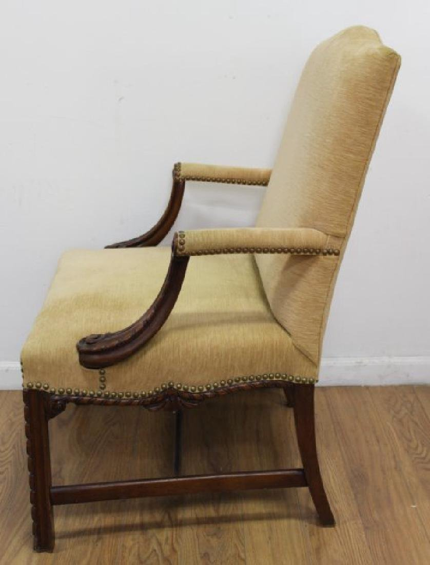 Pair George III Style Mahogany Library Armchairs - 3