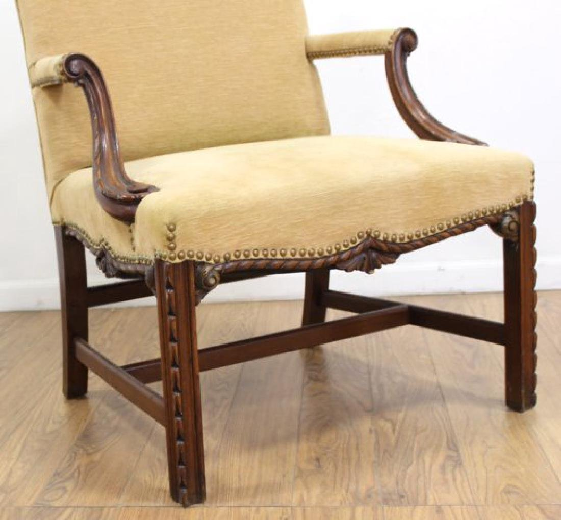 Pair George III Style Mahogany Library Armchairs - 4