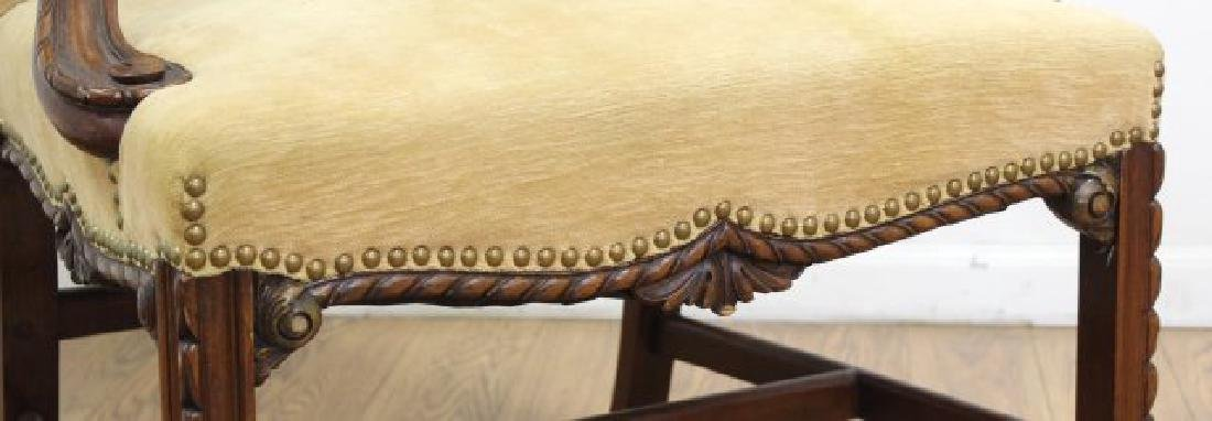 Pair George III Style Mahogany Library Armchairs - 5