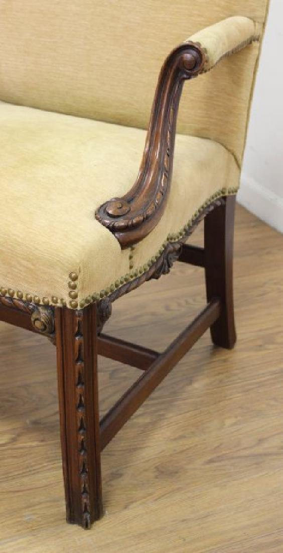 Pair George III Style Mahogany Library Armchairs - 6