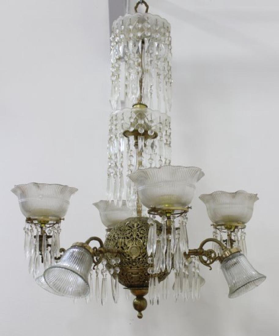Victorian Brass & Crystal 8-Light Chandelier