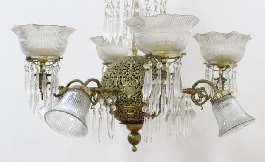 Victorian Brass & Crystal 8-Light Chandelier - 2
