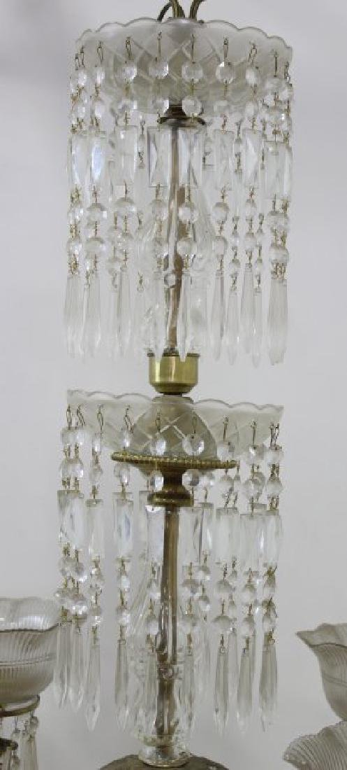 Victorian Brass & Crystal 8-Light Chandelier - 4