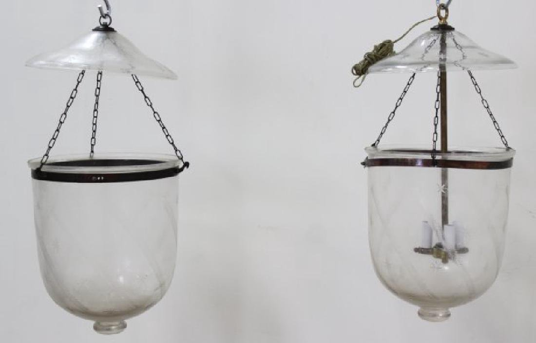 Pair Etched Glass Bell Lanterns