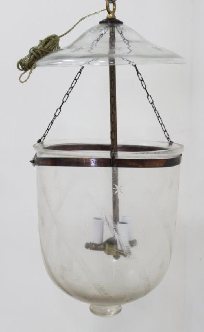 Pair Etched Glass Bell Lanterns - 2