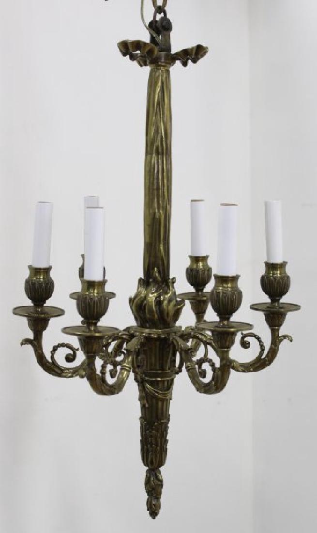 Louis XVI Style Brass 6-Light Chandelier