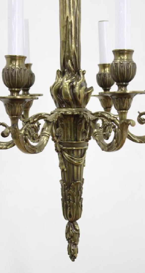 Louis XVI Style Brass 6-Light Chandelier - 3