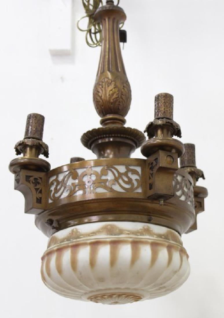 Arts & Crafts 4-Light Brass Chandelier with Dome
