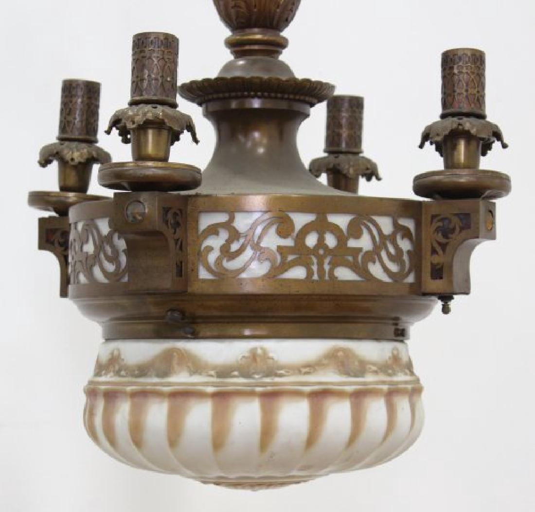Arts & Crafts 4-Light Brass Chandelier with Dome - 2