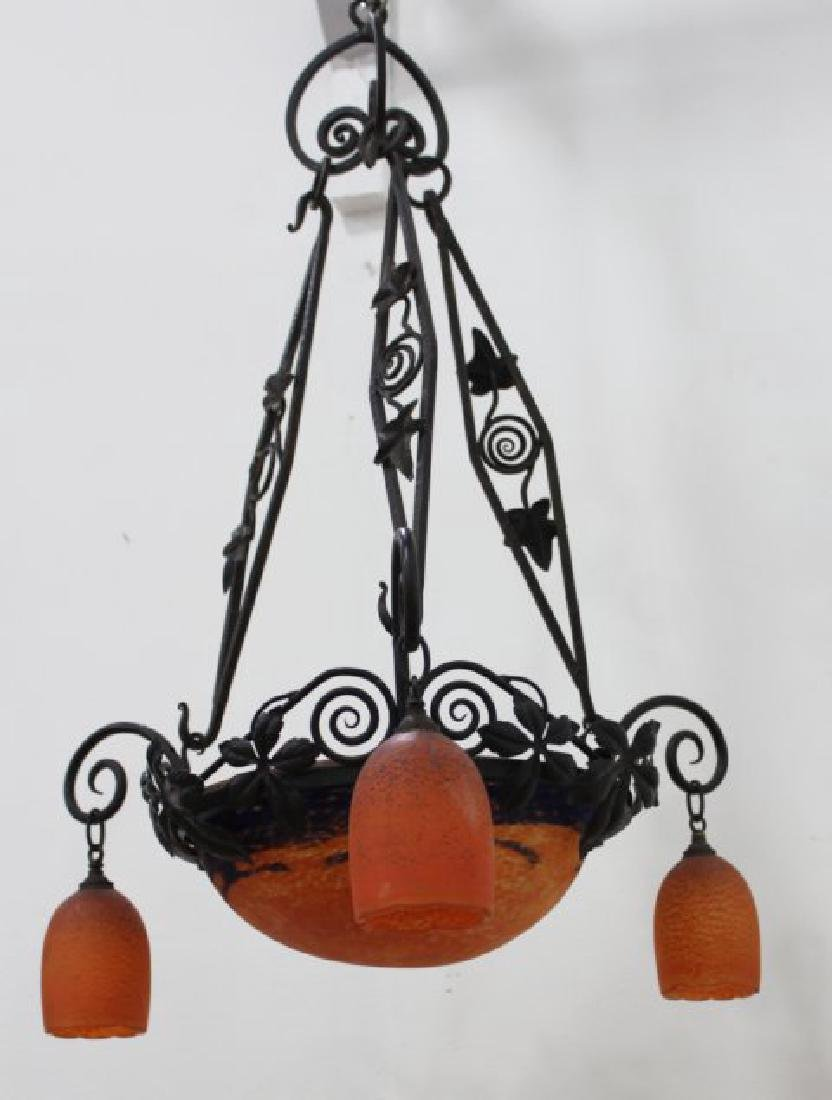 French Art Deco Art Glass Chandelier