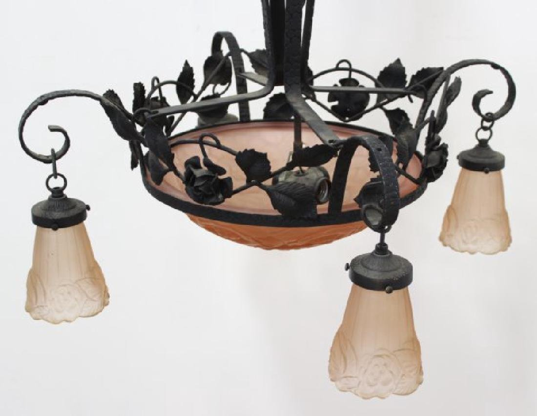 French Art Deco Wrought Iron Chandelier - 3