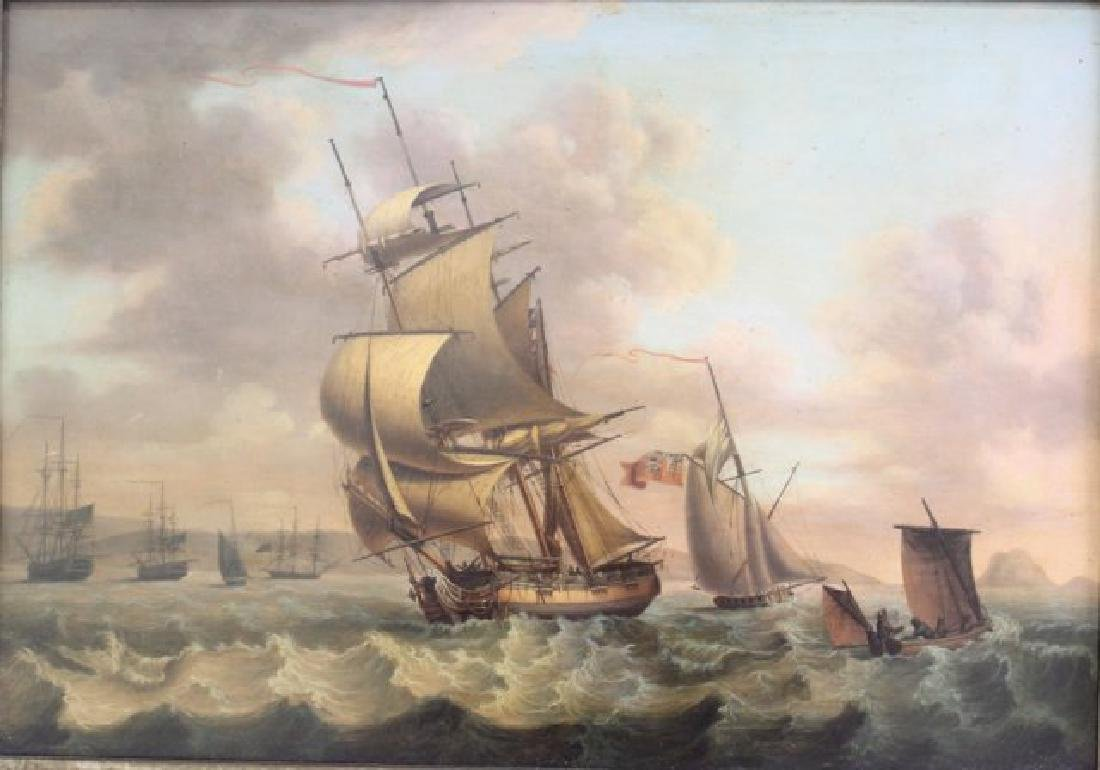 British Seascape with Sailing Ships