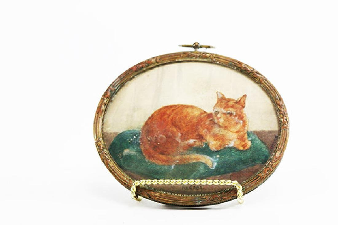 Oval Pastel of a Seated Cat