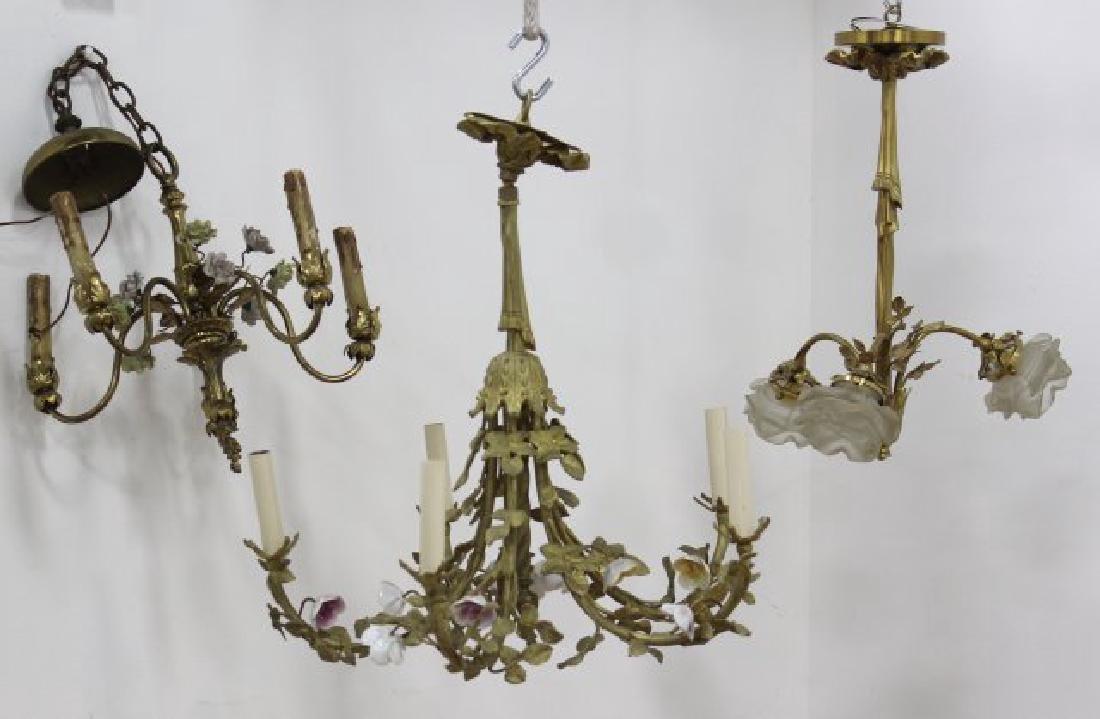 3 Louis XV Style Gilt Metal, Porcelain Chandeliers
