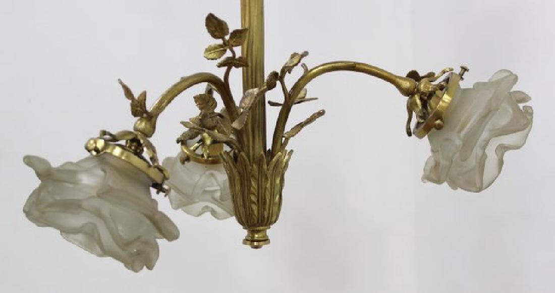 3 Louis XV Style Gilt Metal, Porcelain Chandeliers - 3