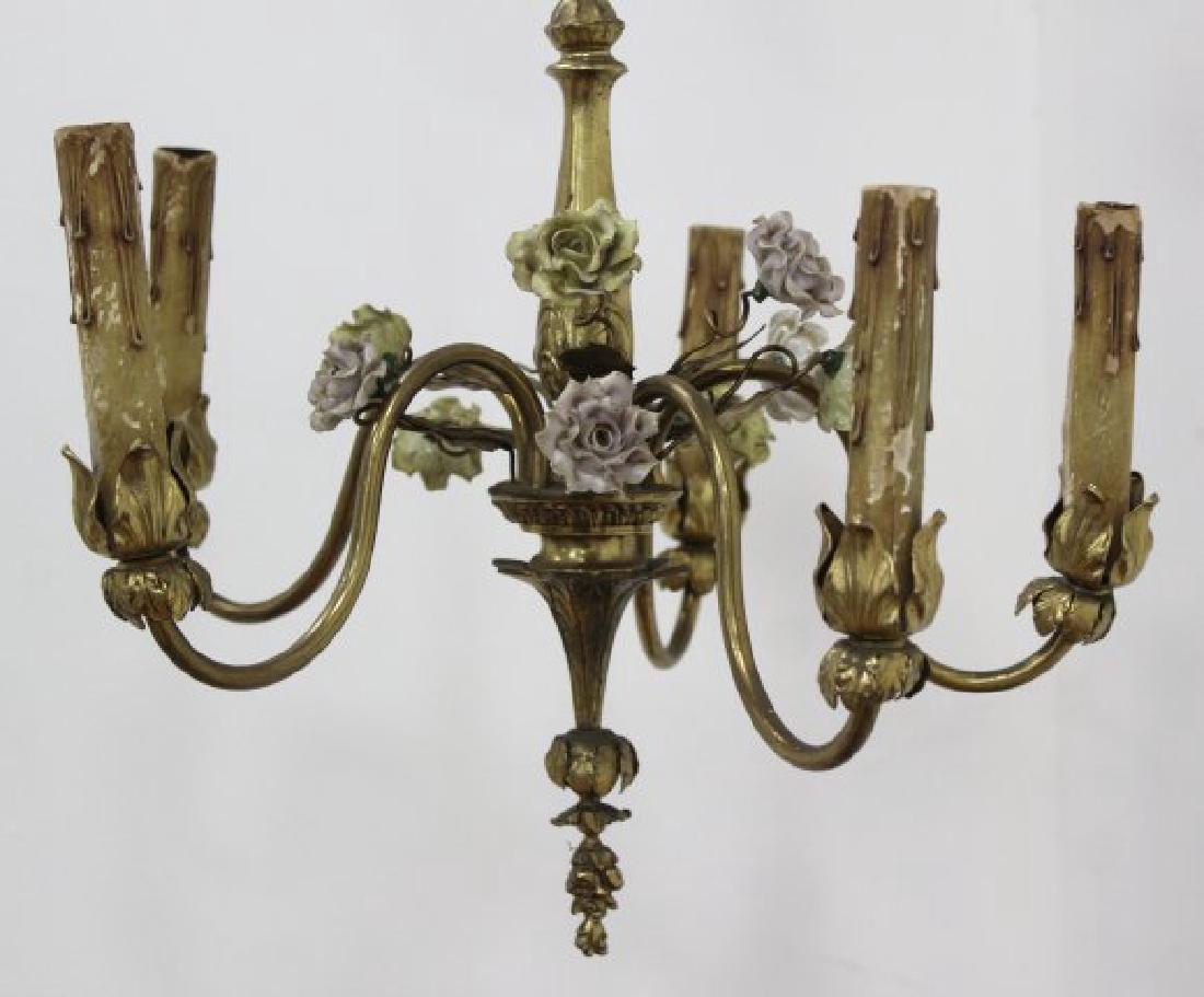 3 Louis XV Style Gilt Metal, Porcelain Chandeliers - 5
