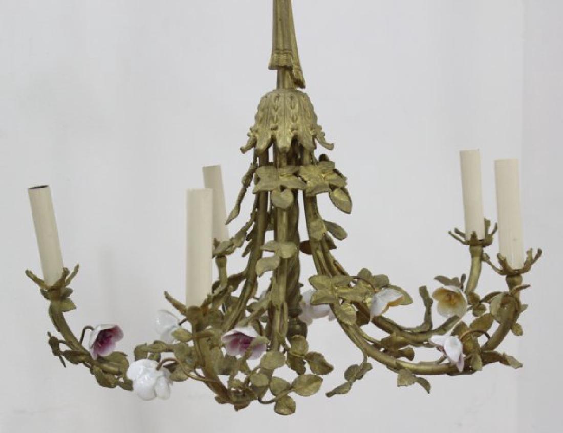 3 Louis XV Style Gilt Metal, Porcelain Chandeliers - 7